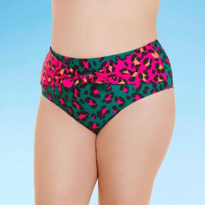 Decree Tie Front Womens Animal High Waist Bikini Swimsuit Bottom Juniors Plus