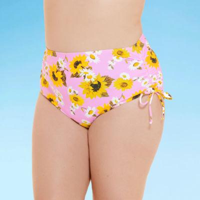 Decree Side Tie Womens Floral High Waist Bikini Swimsuit Bottom Juniors Plus