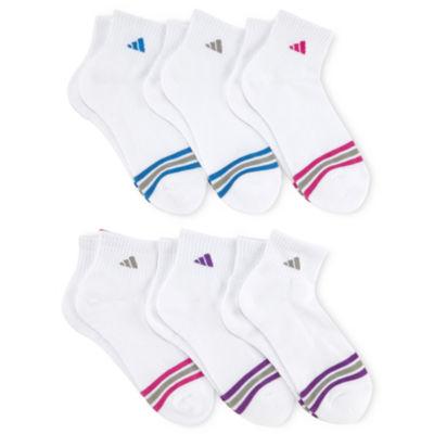 adidas® 6-pk. Striped Quarter-Length Socks