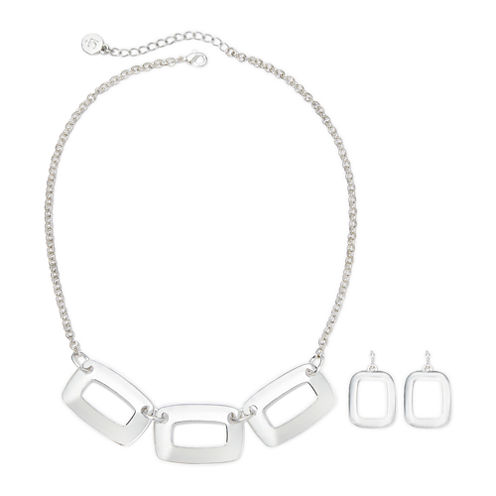 Liz Claiborne® Silver-Tone Box Necklace & Earring Set