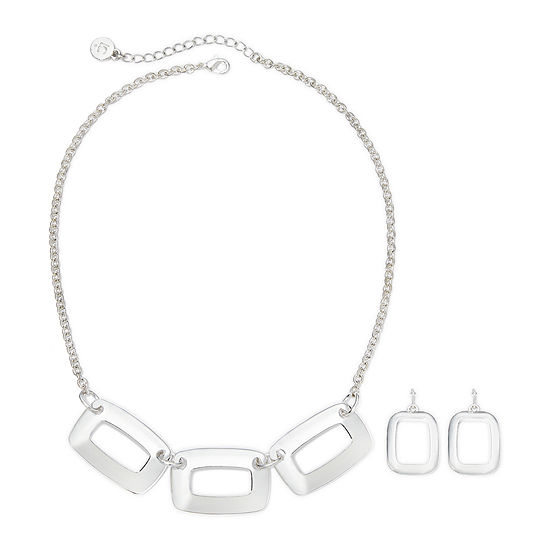 Liz Claiborne Silver Tone Box Necklace Earring Set