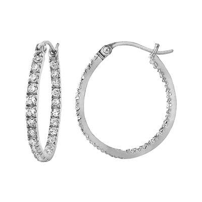 Cubic Zirconia Sterling Silver Oval Hoop Earrings