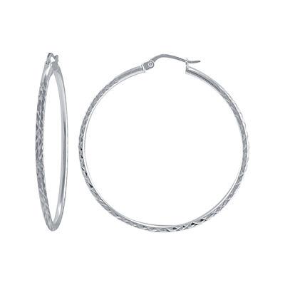 Sterling Silver 40mm Diamond-Cut Tube Hoop Earrings