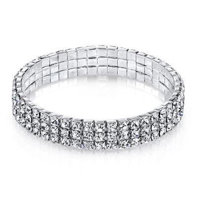 1928® Jewelry Crystal Silver-Tone 3-Row Stretch Bracelet