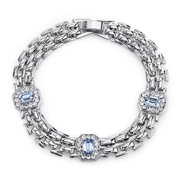 1928® Jewelry Crystal and Light Blue Stone Line Bracelet