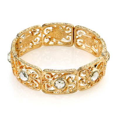 1928® Jewelry Crystal Gold-Tone Stretch Bracelet