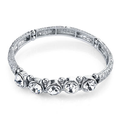 1928® Jewelry Crystal Silver-Tone Stretch Bracelet