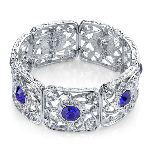 1928® Jewelry Blue Stone Silver-Tone Filigree Stretch Bracelet