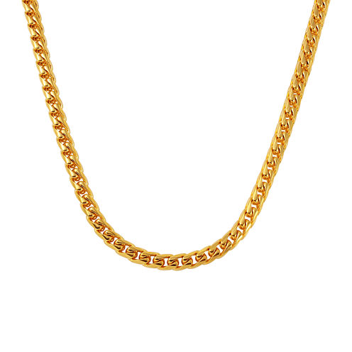 Mens Yellow Ion-Plated Stainless Steel Necklace