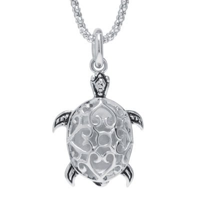 Sterling Silver Turtle Pendant Necklace