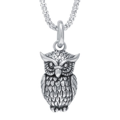 Sterling Silver Owl Pendant Necklace