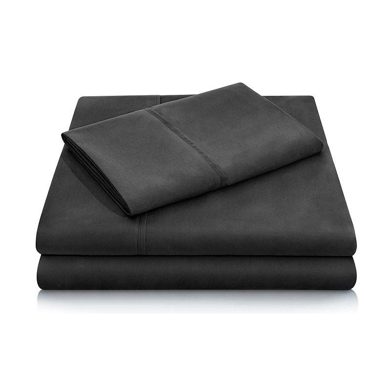 Malouf Woven Double Brushed Microfiber Sheet Set, Black, Queen