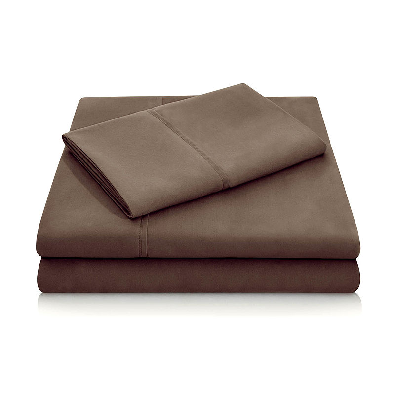 Malouf Woven Double Brushed Microfiber Sheet Set, Brown, Full