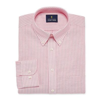 Stafford Travel Wrinkle Free Oxford Long Sleeve Oxford Stripe Dress Shirt