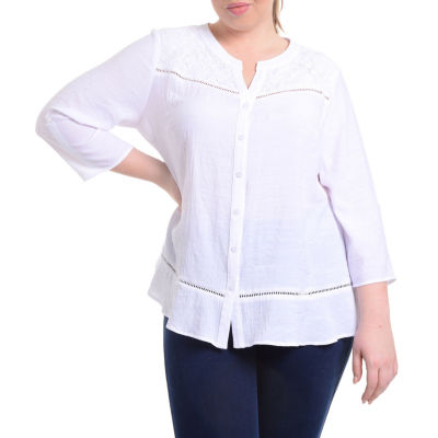 NY Collection Lace Yoke Button Front Blouse - Plus