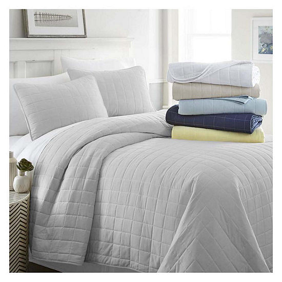 Casual Comfort Premium Ultra Soft Square Pattern Quilted Coverlet Set