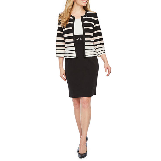 Studio 1 3/4 Sleeve Stripped Jacket Dress