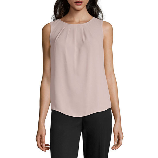 Worthington Pleated Round Neck Tank - Tall