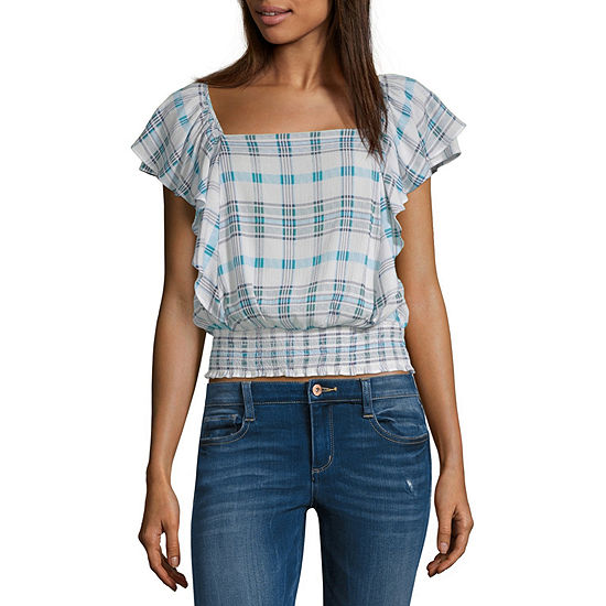 a.n.a Smocked Bottom Ruffle Tee - Tall