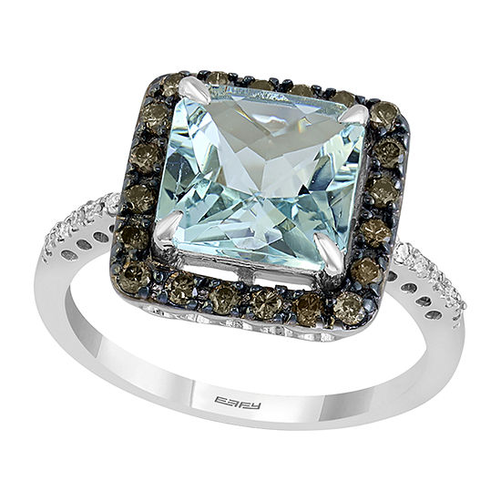 LIMITED QUANTITIES! Effy Final Call Womens 1/3 CT. T.W. Genuine Blue Aquamarine 14K Gold Cocktail Ring