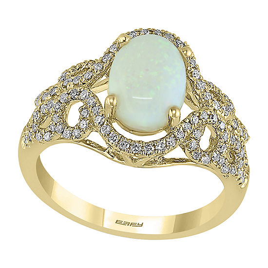 LIMITED QUANTITIES! Effy Final Call Womens 1/2 CT. T.W. Genuine White Opal 14K Gold Cocktail Ring