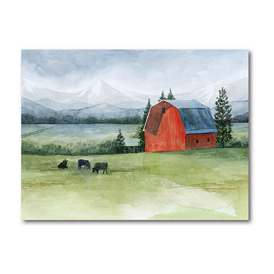 Courtside Market Red Barn In Prairie Canvas Art