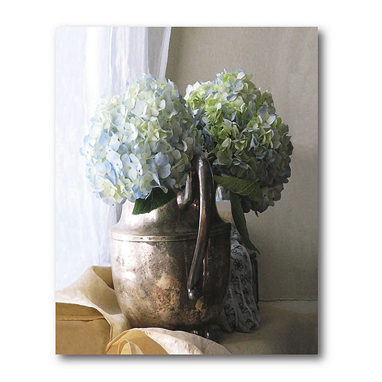 Courtside Market Silver Pitcher With Hydrangeas Canvas Art