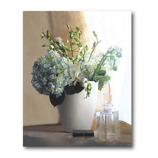 Courtside Market White Vase With Hydrangeas Canvas Art