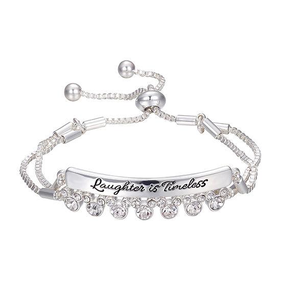 Disney Classics Crystal Silver Tone Mickey Mouse Bolo Bracelet