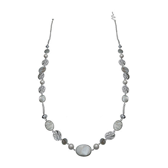 Mixit Grey Shell Long Womens Beaded Necklace