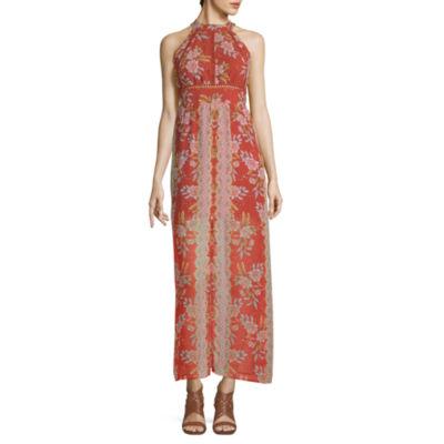 City Triangle Sleeveless Floral Maxi Dress-Juniors