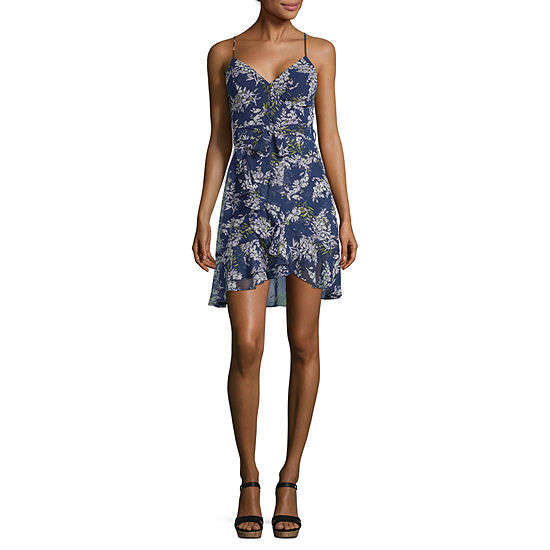 B. Darlin Sleeveless Floral Wrap Dress-Juniors