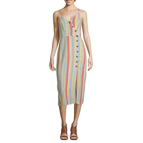Speechless Sleeveless Striped Wrap Dress-Juniors