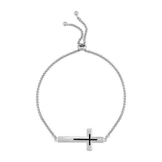 Forever Inspired Sterling Silver Cross Bolo Bracelet