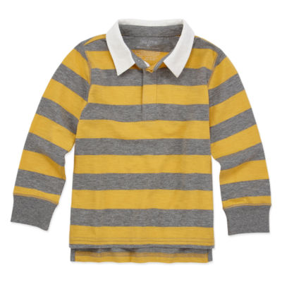 Okie Dokie Boys Point Collar Long Sleeve Rugby Shirt - Toddler