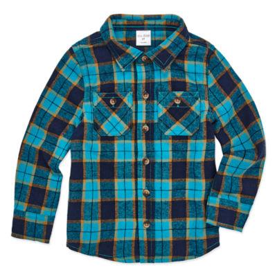 Okie Dokie Boys Long Flannel Shirt-Toddler