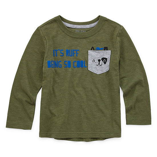 Okie Dokie Boys Crew Neck Long Sleeve Graphic T-Shirt-Toddler