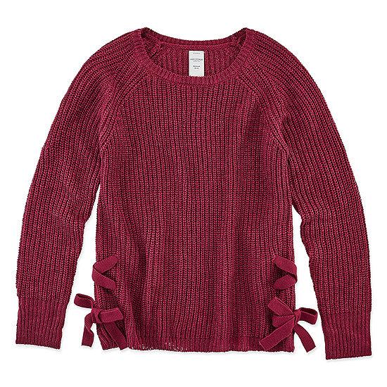 Arizona Girls Round Neck Long Sleeve Pullover Sweater Preschool / Big Kid