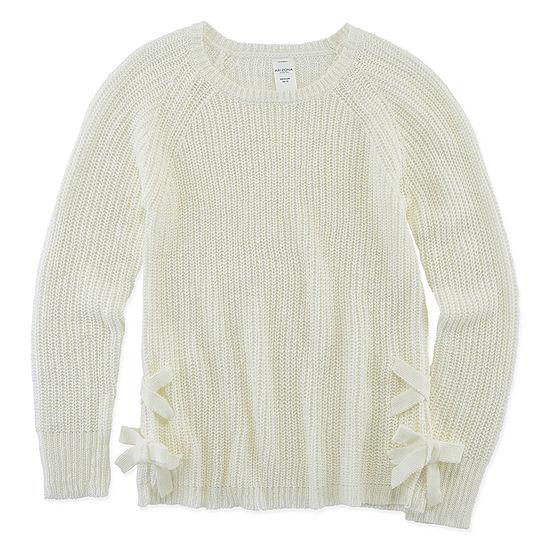Arizona Little & Big Girls Round Neck Long Sleeve Pullover Sweater