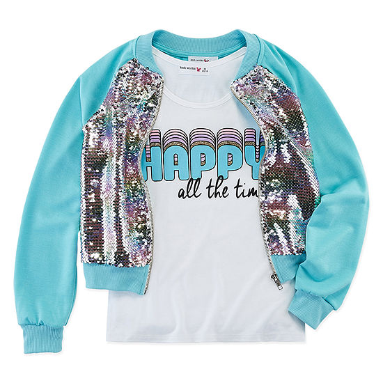 Knit Works Sequin Bomber Jackets Girls Scoop Neck Sleeveless Layered Top Preschool / Big Kid