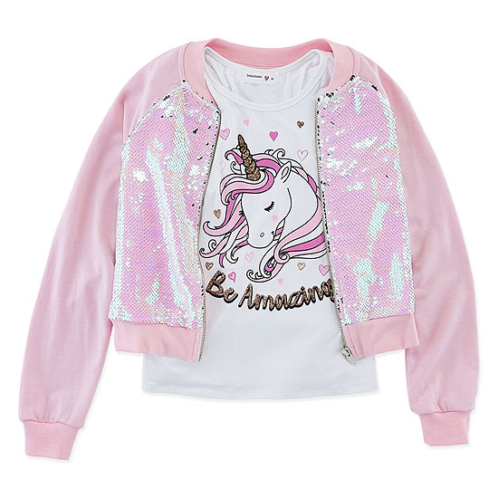 Knit Works Sequin Bomber Jackets Little & Big Girls Sleeveless Scoop Neck Layered Top