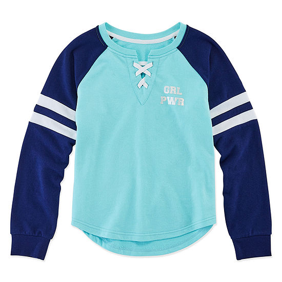 Xersion Girls Lace Up V- Neck Long Sleeve Top Preschool / Big Kid