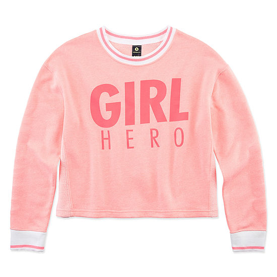 Xersion Little & Big Girls Round Neck Long Sleeve Reversible Sweatshirt