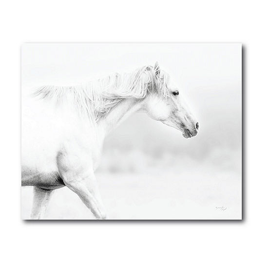 Courtside Market White Horse Canvas Art