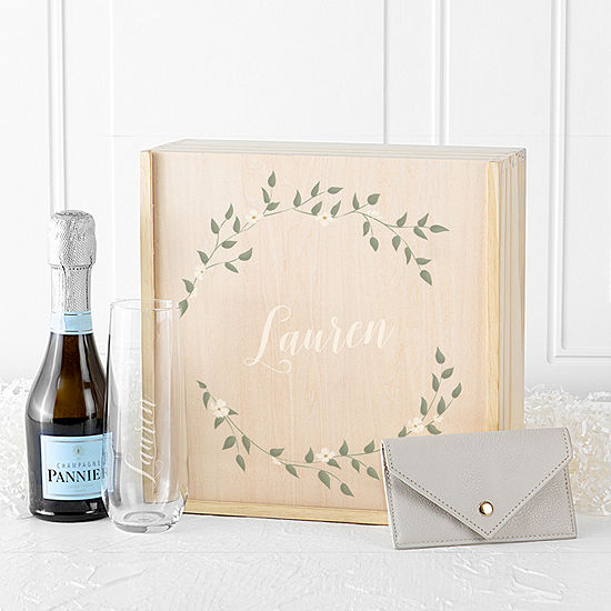 Cathy's Concepts Personalized Floral Gift Box Set Personalized Stemless Wine Glass