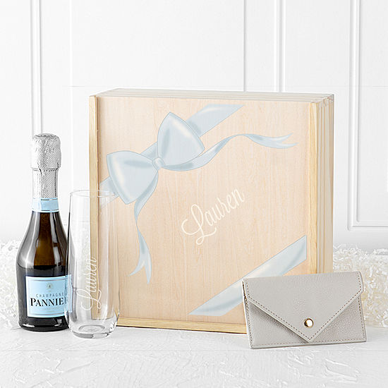 Cathy's Concepts Personalized Ribbon Gift Box Set Personalized Stemless Wine Glass