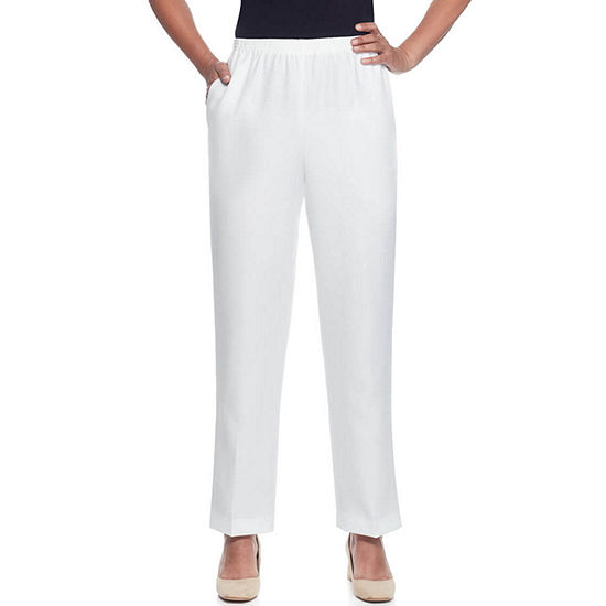 Alfred Dunner Monterey Womens High Waisted Straight Pull-On Pants