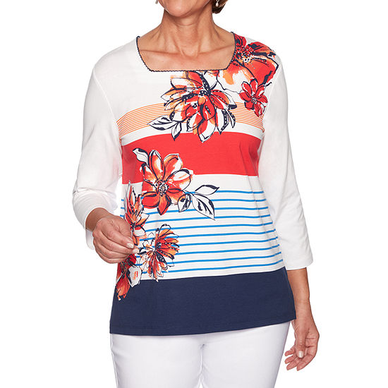 Alfred Dunner In The Navy Womens Square Neck 3 4 Sleeve T Shirt