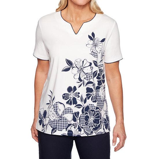Alfred Dunner In The Navy-Womens Split Crew Neck Short Sleeve T-Shirt