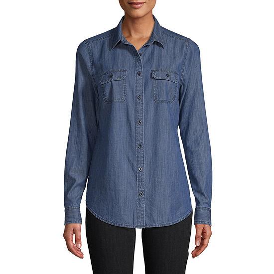 St. John's Bay Womens Long Sleeve Button-Front Shirt